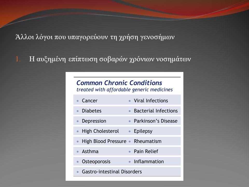 Άλλοι λόγοι που υπαγορεύουν τη χρήση γενοσήμων 1. Η αυξημένη επίπτωση σοβαρών χρόνιων νοσημάτων