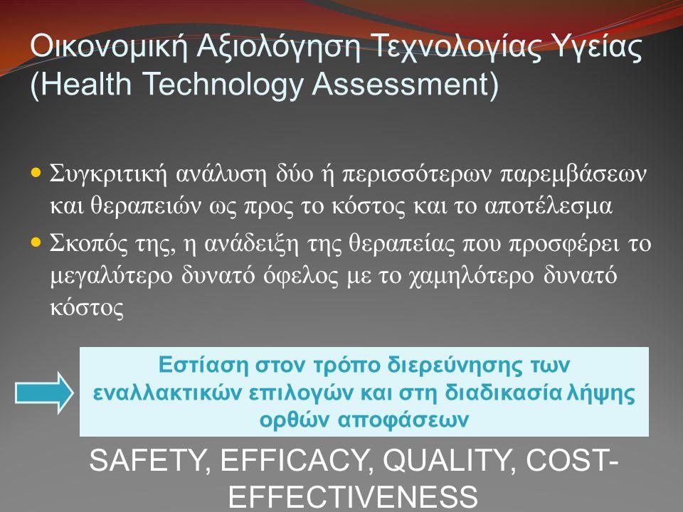 Οικονομική Αξιολόγηση Τεχνολογίας Υγείας (Health Technology Assessment) Συγκριτική ανάλυση δύο ή περισσότερων παρεμβάσεων και θεραπειών ως προς το κόσ
