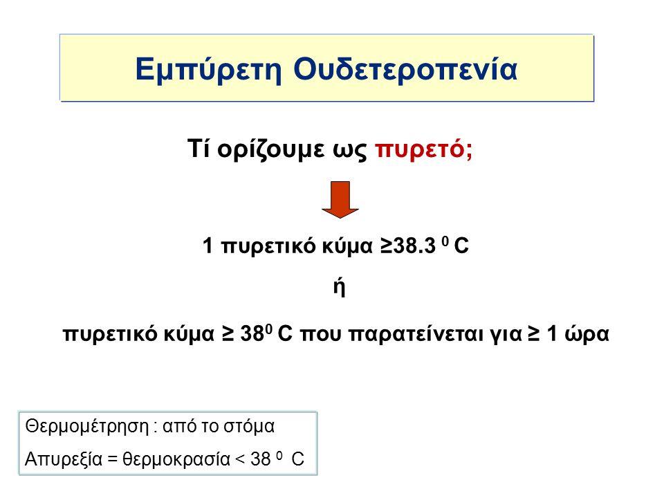 Εμπύρετη Ουδετεροπενία 1 πυρετικό κύμα ≥38.3 0 C ή πυρετικό κύμα ≥ 38 0 C που παρατείνεται για ≥ 1 ώρα Τί ορίζουμε ως πυρετό; Θερμομέτρηση : από το στόμα Απυρεξία = θερμοκρασία < 38 0 C