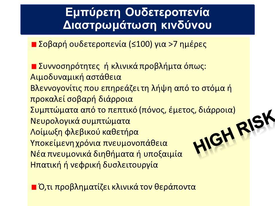 Εμπύρετη Ουδετεροπενία Διαστρωμάτωση κινδύνου Σοβαρή ουδετεροπενία (≤100) για >7 ημέρες Συννοσηρότητες ή κλινικά προβλήμτα όπως: Αιμοδυναμική αστάθεια Βλεννογονίτις που επηρεάζει τη λήψη από το στόμα ή προκαλεί σοβαρή διάρροια Συμπτώματα από το πεπτικό (πόνος, έμετος, διάρροια) Νευρολογικά συμπτώματα Λοίμωξη φλεβικού καθετήρα Υποκείμενη χρόνια πνευμονοπάθεια Νέα πνευμονικά διηθήματα ή υποξαιμία Ηπατική ή νεφρική δυσλειτουργία Ό,τι προβληματίζει κλινικά τον θεράποντα