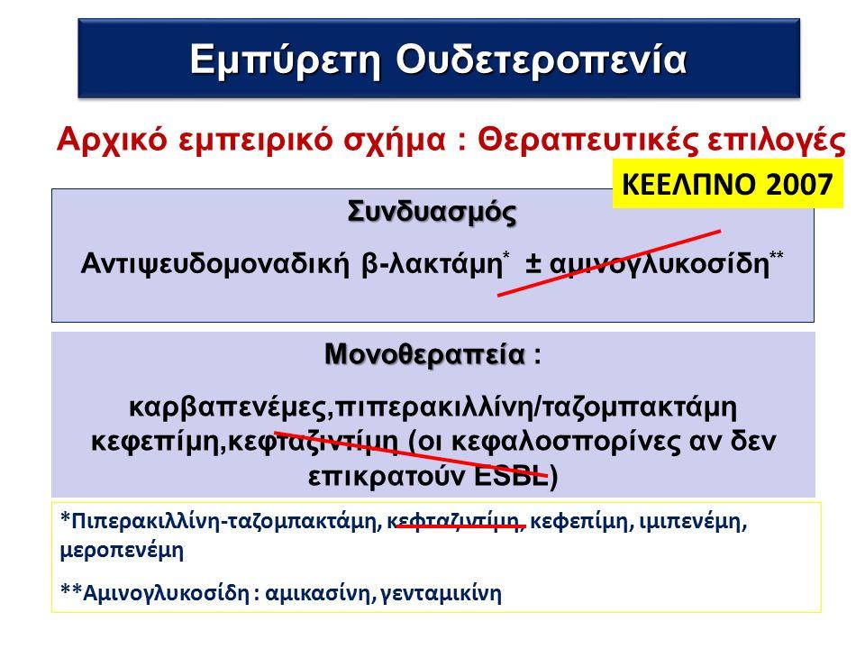 Μονοθεραπεία Μονοθεραπεία : καρβαπενέμες,πιπερακιλλίνη/ταζομπακτάμη κεφεπίμη,κεφταζιντίμη (οι κεφαλοσπορίνες αν δεν επικρατούν ESBL) *Πιπερακιλλίνη-ταζομπακτάμη, κεφταζιντίμη, κεφεπίμη, ιμιπενέμη, μεροπενέμη **Αμινογλυκοσίδη : αμικασίνη, γενταμικίνη Αρχικό εμπειρικό σχήμα : Θεραπευτικές επιλογές Εμπύρετη Ουδετεροπενία Συνδυασμός Αντιψευδομοναδική β-λακτάμη * ± αμινογλυκοσίδη ** ΚΕΕΛΠΝΟ 2007