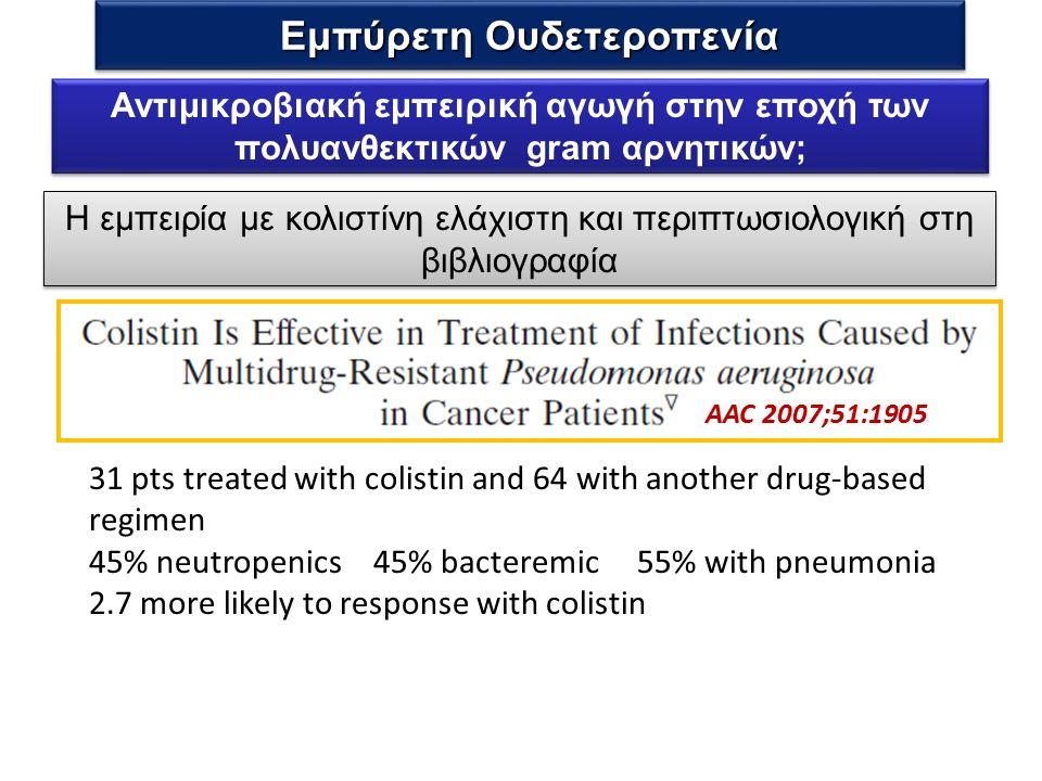 Η εμπειρία με κολιστίνη ελάχιστη και περιπτωσιολογική στη βιβλιογραφία AAC 2007;51:1905 31 pts treated with colistin and 64 with another drug-based regimen 45% neutropenics 45% bacteremic 55% with pneumonia 2.7 more likely to response with colistin Αντιμικροβιακή εμπειρική αγωγή στην εποχή των πολυανθεκτικών gram αρνητικών; Εμπύρετη Ουδετεροπενία