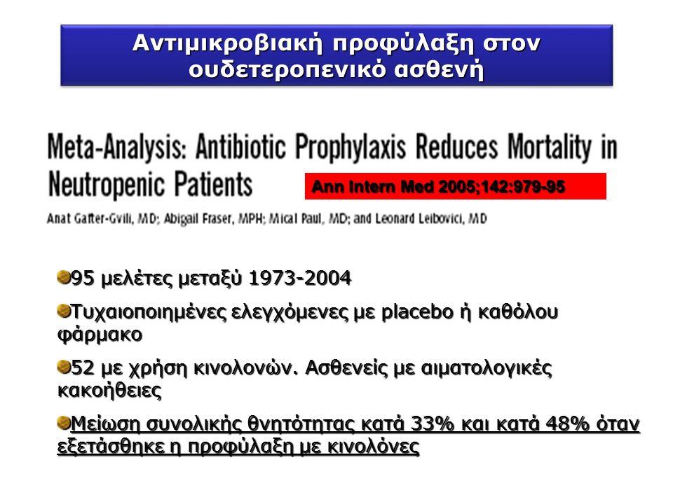 Αnn Intern Med 2005;142:979-95 95 μελέτες μεταξύ 1973-2004 Τυχαιοποιημένες ελεγχόμενες με placebo ή καθόλου φάρμακο 52 με χρήση κινολονών.