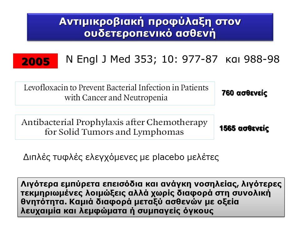 Αντιμικροβιακή προφύλαξη στον ουδετεροπενικό ασθενή 2005 N Engl J Med 353; 10: 977-87 και 988-98 Διπλές τυφλές ελεγχόμενες με placebo μελέτες 1565 ασθενείς 760 ασθενείς Λιγότερα εμπύρετα επεισόδια και ανάγκη νοσηλείας, λιγότερες τεκμηριωμένες λοιμώξεις αλλά χωρίς διαφορά στη συνολική θνητότητα.