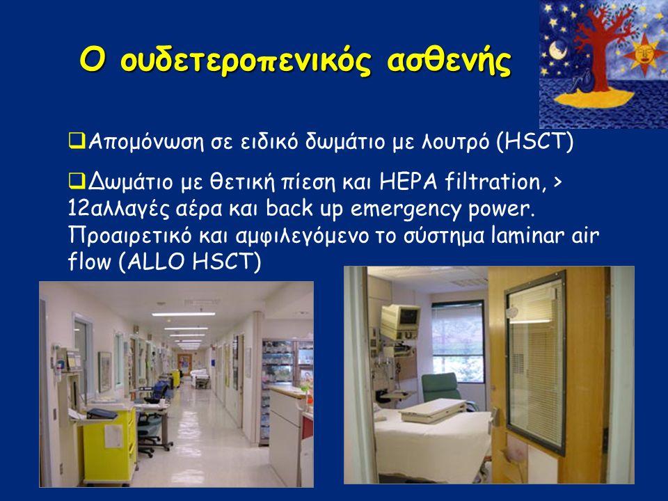 Ο ουδετεροπενικός ασθενής  Απομόνωση σε ειδικό δωμάτιο με λουτρό (HSCT)  Δωμάτιο με θετική πίεση και HEPA filtration, > 12αλλαγές αέρα και back up emergency power.