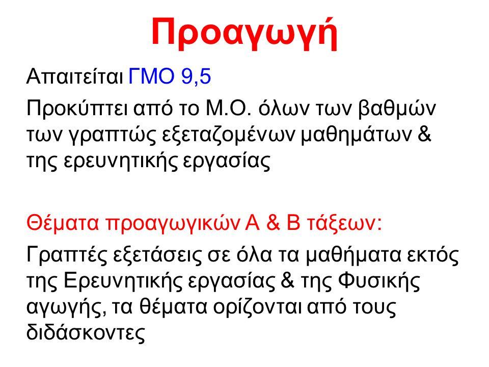 Προαγωγή Απαιτείται ΓΜΟ 9,5 Προκύπτει από το Μ.Ο.