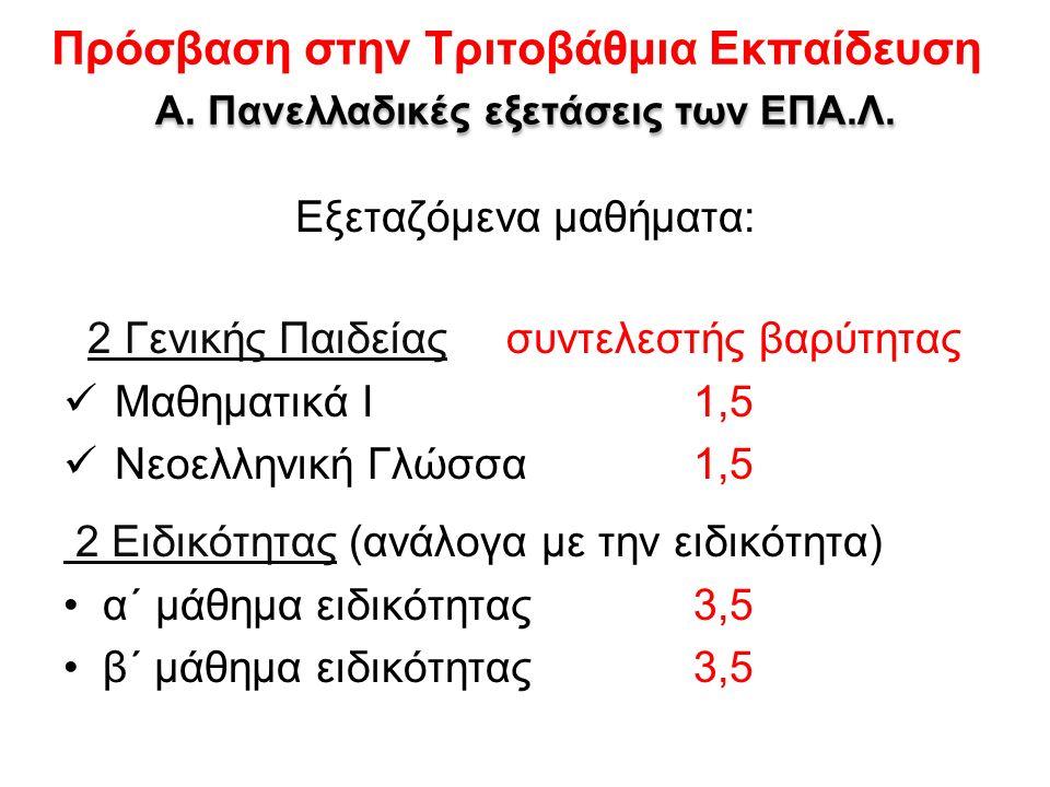 Πρόσβαση στην Τριτοβάθμια Εκπαίδευση Α. Πανελλαδικές εξετάσεις των ΕΠΑ.Λ.