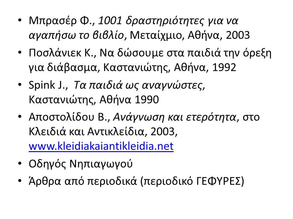 Μπρασέρ Φ., 1001 δραστηριότητες για να αγαπήσω το βιβλίο, Μεταίχμιο, Αθήνα, 2003 Ποσλάνιεκ Κ., Να δώσουμε στα παιδιά την όρεξη για διάβασμα, Καστανιώτης, Αθήνα, 1992 Spink J., Τα παιδιά ως αναγνώστες, Καστανιώτης, Αθήνα 1990 Αποστολίδου Β., Ανάγνωση και ετερότητα, στο Κλειδιά και Αντικλείδια, 2003, www.kleidiakaiantikleidia.net www.kleidiakaiantikleidia.net Οδηγός Νηπιαγωγού Άρθρα από περιοδικά (περιοδικό ΓΕΦΥΡΕΣ)