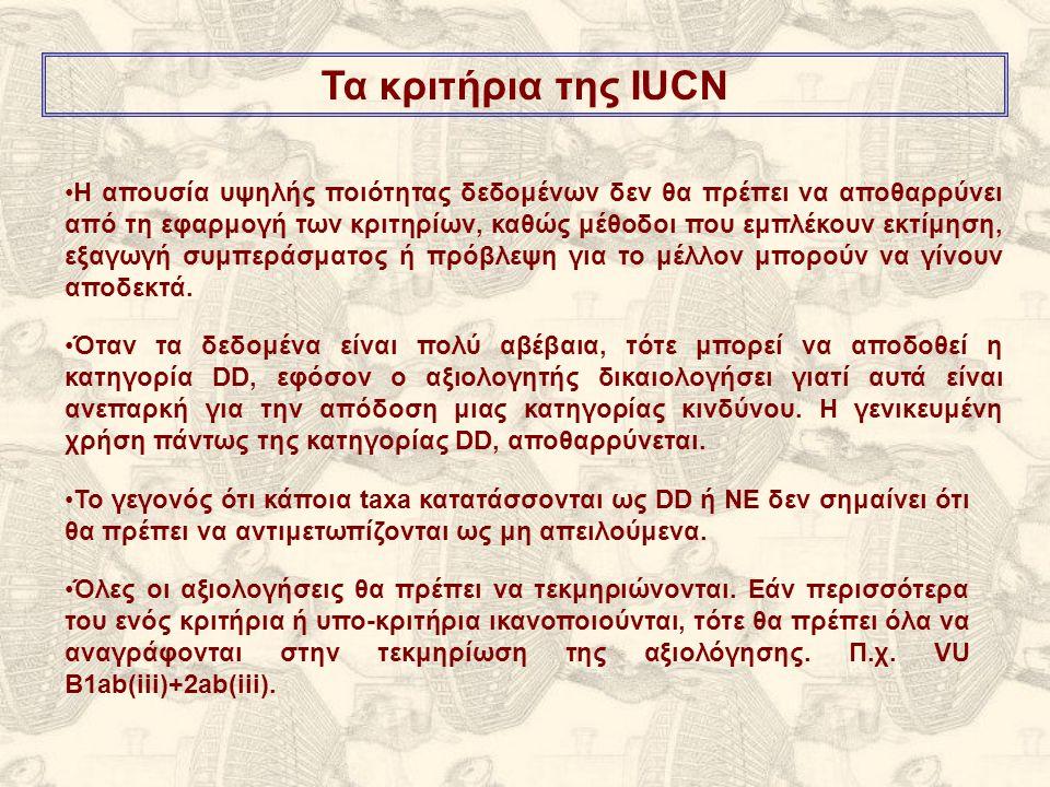 Το γεγονός ότι κάποια taxa κατατάσσονται ως DD ή ΝΕ δεν σημαίνει ότι θα πρέπει να αντιμετωπίζονται ως μη απειλούμενα.