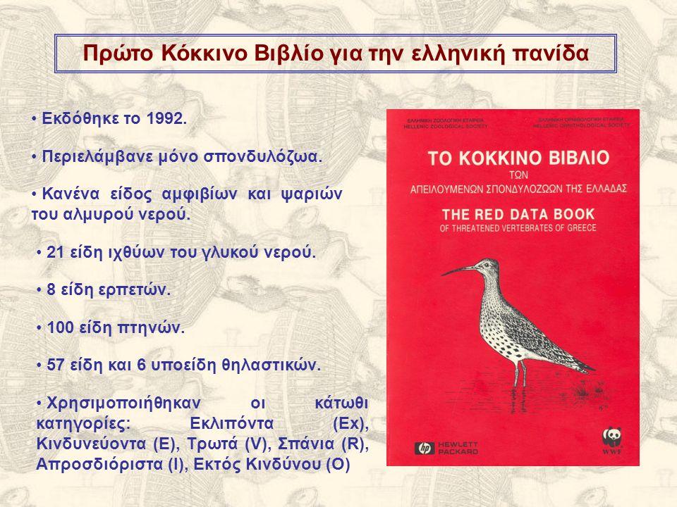 Δεύτερο Κόκκινο Βιβλίο για την ελληνική πανίδα Εκδόθηκε το 2009 (17 έτη μετά το πρώτο).