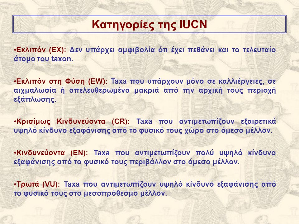 Εκλιπόν (ΕΧ): Δεν υπάρχει αμφιβολία ότι έχει πεθάνει και το τελευταίο άτομο του taxon. Εκλιπόν στη Φύση (ΕW): Taxa που υπάρχουν μόνο σε καλλιέργειες,