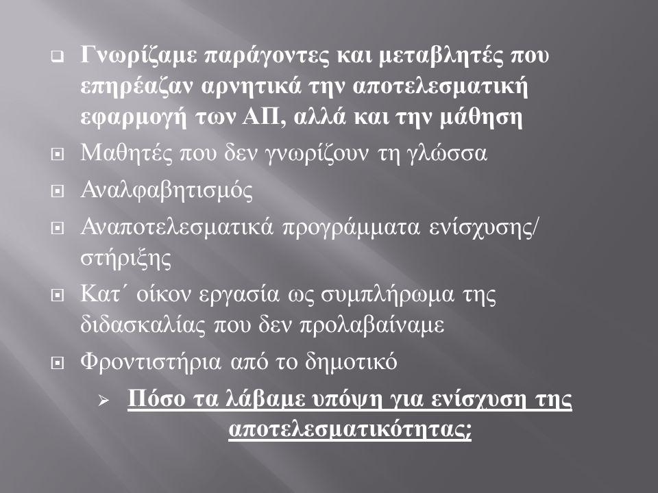  M εταρρυθμίσεις των λόγων χωρίς δράσεις που να υποστηρίζουν τις εξαγγελίες  « Χαρά της Μάθησης »  « Διαφοροποίηση διδασκαλίας μάθησης »  « Χρήση της τεχνολογίας στη διδασκαλία »  « Ανθρώπινο και δημοκρατικό σχολείο »  « Καλλιέργεια κριτικής σκέψης »  « Διαπολιτισμική εκπαίδευση »  Με ποιες πρακτικές η ρητορική των ΑΠ έγινε καθημερινή πράξη ;