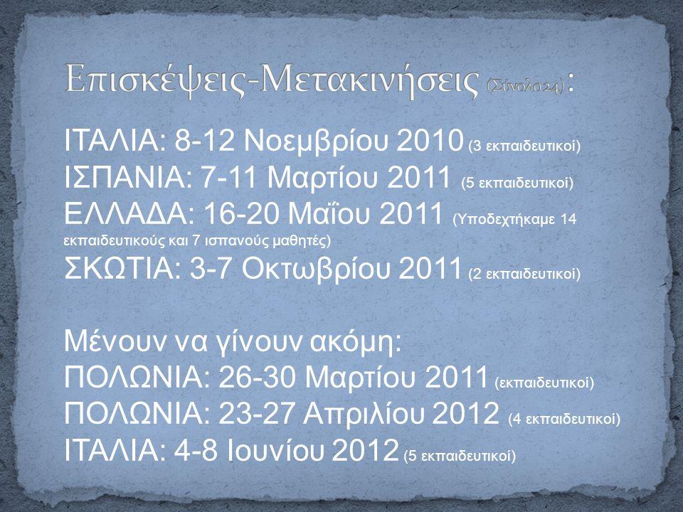 ΙΤΑΛΙΑ: 8-12 Νοεμβρίου 2010 (3 εκπαιδευτικοί) ΙΣΠΑΝΙΑ: 7-11 Μαρτίου 2011 (5 εκπαιδευτικοί) ΕΛΛΑΔΑ: 16-20 Μαΐου 2011 (Υποδεχτήκαμε 14 εκπαιδευτικούς και 7 ισπανούς μαθητές) ΣΚΩΤΙΑ: 3-7 Οκτωβρίου 2011 (2 εκπαιδευτικοί) Μένουν να γίνουν ακόμη: ΠΟΛΩΝΙΑ: 26-30 Μαρτίου 2011 (εκπαιδευτικοί) ΠΟΛΩΝΙΑ: 23-27 Απριλίου 2012 (4 εκπαιδευτικοί) ΙΤΑΛΙΑ: 4-8 Ιουνίου 2012 (5 εκπαιδευτικοί)