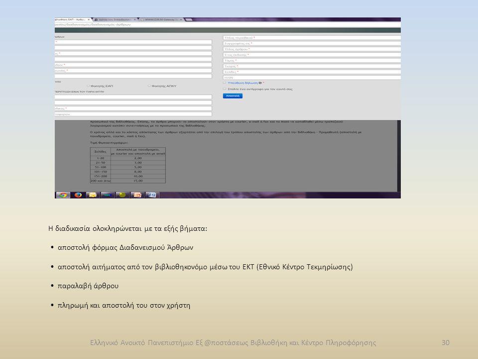 Η διαδικασία ολοκληρώνεται με τα εξής βήματα: αποστολή φόρμας Διαδανεισμού Άρθρων αποστολή αιτήματος από τον βιβλιοθηκονόμο μέσω του ΕΚΤ (Εθνικό Κέντρ