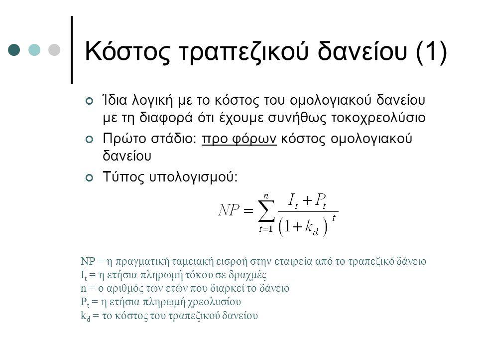 Κόστος τραπεζικού δανείου (2) Δεύτερο στάδιο: μετά από φόρους κόστος του ομολογιακού δανείου Προσαρμόζουμε το προ φόρων κόστος αναλόγως του συντελεστή φορολόγησης Τύπος υπολογισμού: k dt = το μετά από φόρους κόστος του ομολογιακού δανείου, t = ο φορολογικός συντελεστής της εταιρείας.