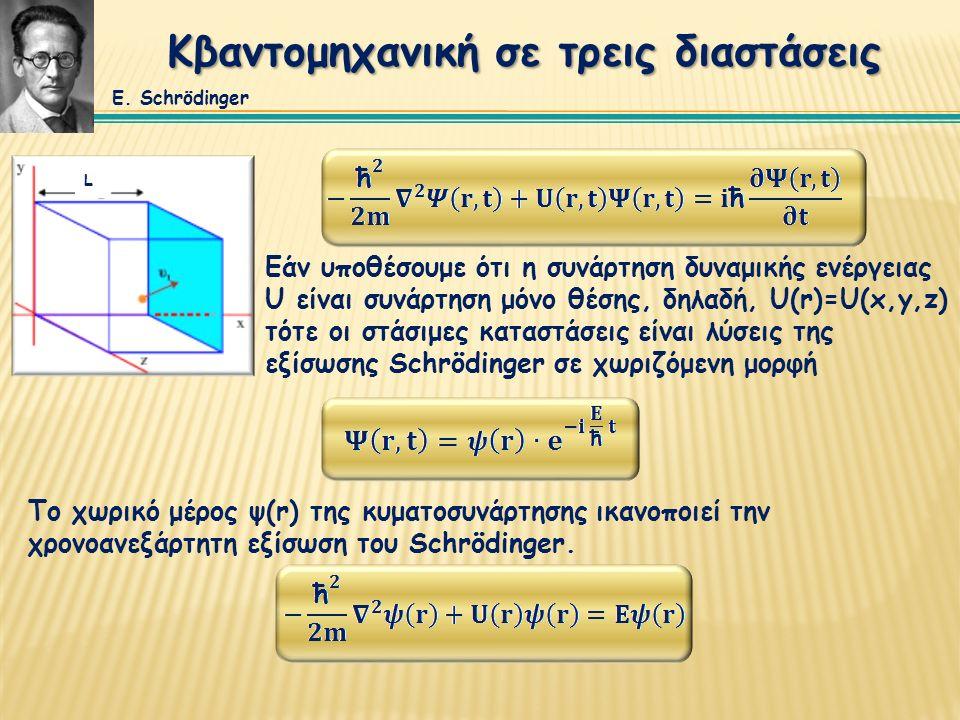 Κβαντομηχανική σε τρεις διαστάσεις Εάν υποθέσουμε ότι η συνάρτηση δυναμικής ενέργειας U είναι συνάρτηση μόνο θέσης, δηλαδή, U(r)=U(x,y,z) τότε οι στάσ