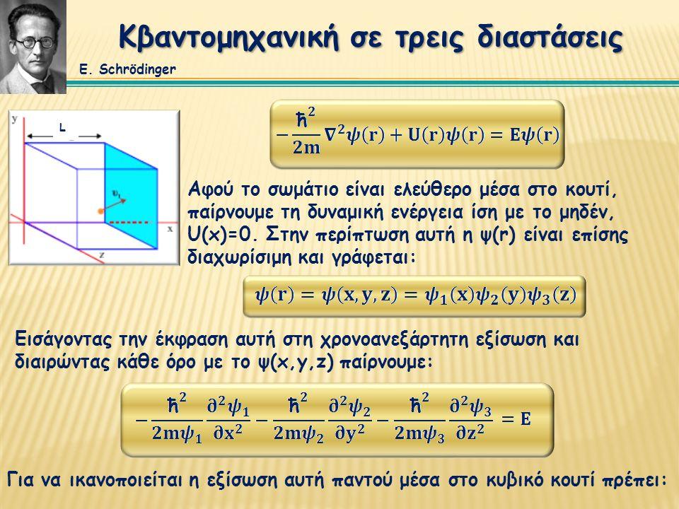 Κβαντομηχανική σε τρεις διαστάσεις Αφού το σωμάτιο είναι ελεύθερο μέσα στο κουτί, παίρνουμε τη δυναμική ενέργεια ίση με το μηδέν, U(x)=0. Στην περίπτω
