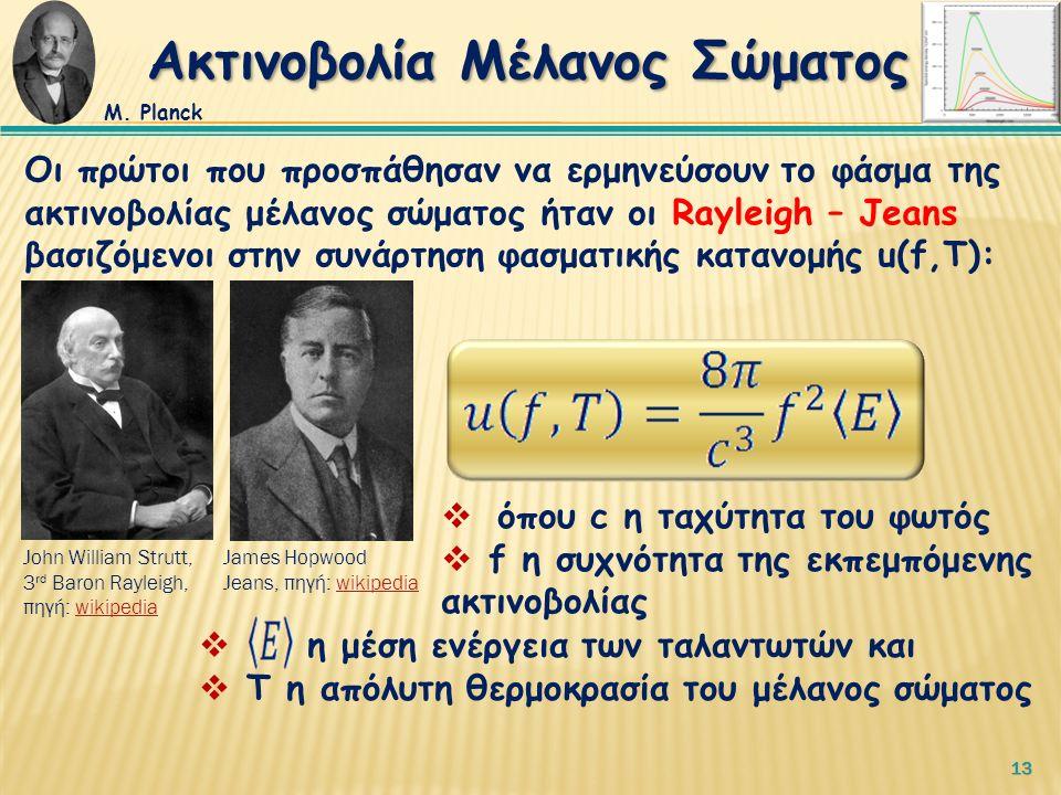 13 Οι πρώτοι που προσπάθησαν να ερμηνεύσουν το φάσμα της ακτινοβολίας μέλανος σώματος ήταν οι Rayleigh – Jeans βασιζόμενοι στην συνάρτηση φασματικής κατανομής u(f,T):  όπου c η ταχύτητα του φωτός  f η συχνότητα της εκπεμπόμενης ακτινοβολίας Ακτινοβολία Μέλανος Σώματος Μ.