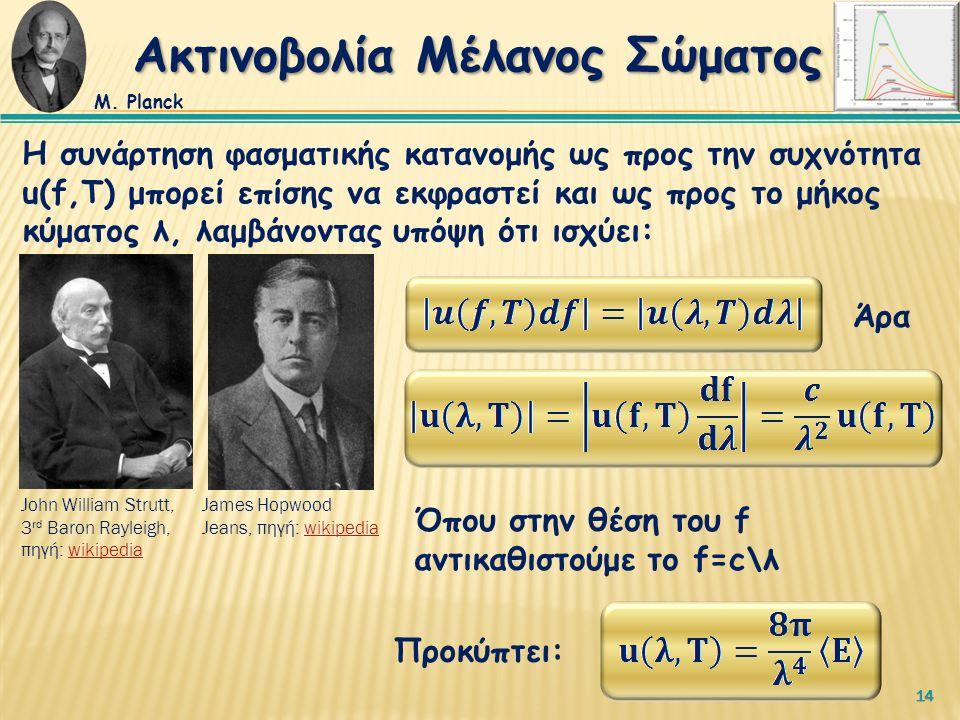 14 Η συνάρτηση φασματικής κατανομής ως προς την συχνότητα u(f,T) μπορεί επίσης να εκφραστεί και ως προς το μήκος κύματος λ, λαμβάνοντας υπόψη ότι ισχύει: Προκύπτει: Άρα Όπου στην θέση του f αντικαθιστούμε το f=c\λ Ακτινοβολία Μέλανος Σώματος Μ.