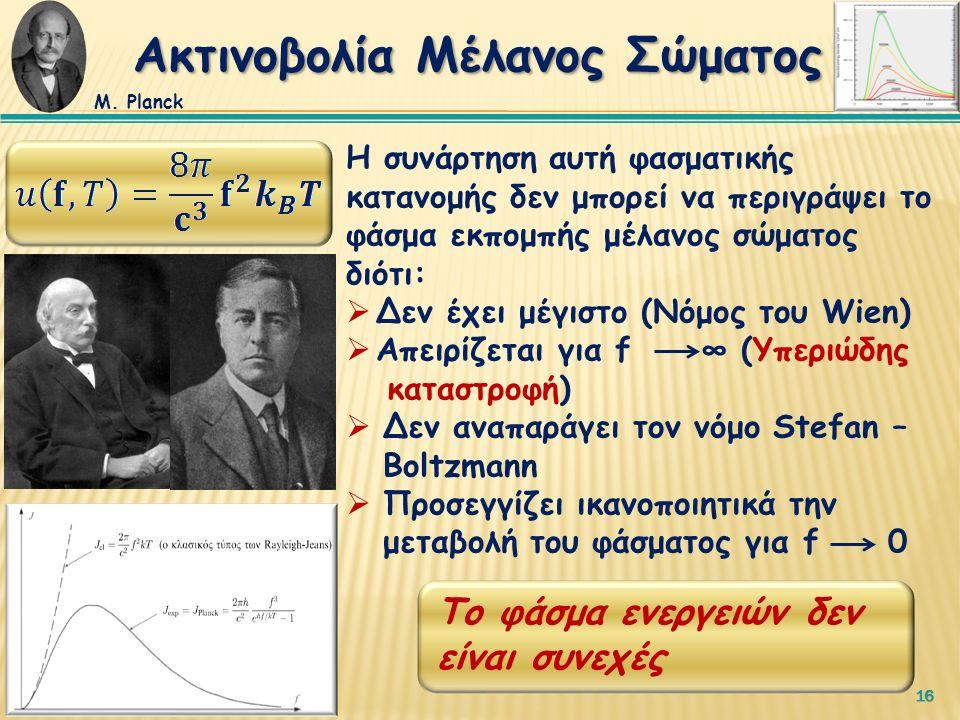 16 Η συνάρτηση αυτή φασματικής κατανομής δεν μπορεί να περιγράψει το φάσμα εκπομπής μέλανος σώματος διότι:  Δεν έχει μέγιστο (Νόμος του Wien)  Aπειρίζεται για f ∞ (Υπεριώδης καταστροφή)  Δεν αναπαράγει τον νόμο Stefan – Boltzmann  Προσεγγίζει ικανοποιητικά την μεταβολή του φάσματος για f 0 Το φάσμα ενεργειών δεν είναι συνεχές Ακτινοβολία Μέλανος Σώματος Μ.