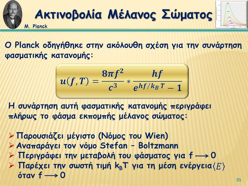 21 Ο Planck οδηγήθηκε στην ακόλουθη σχέση για την συνάρτηση φασματικής κατανομής: Η συνάρτηση αυτή φασματικής κατανομής περιγράφει πλήρως το φάσμα εκπομπής μέλανος σώματος:  Παρουσιάζει μέγιστο (Νόμος του Wien)  Αναπαράγει τον νόμο Stefan – Boltzmann  Περιγράφει την μεταβολή του φάσματος για f 0  Παρέχει την σωστή τιμή k B T για τη μέση ενέργεια όταν f 0 Ακτινοβολία Μέλανος Σώματος Μ.