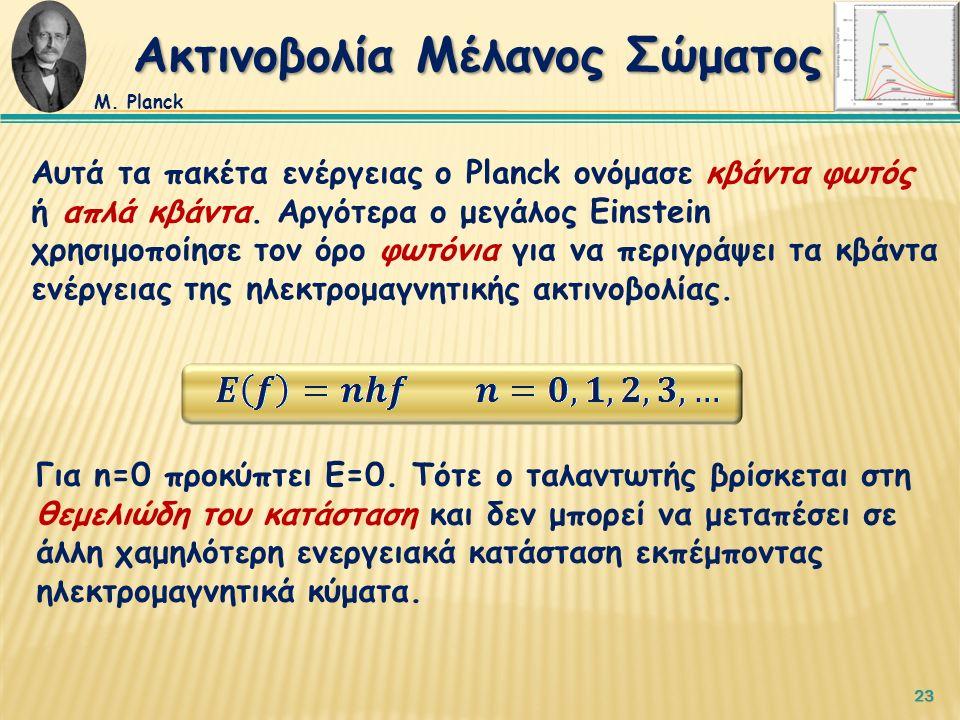 23 Αυτά τα πακέτα ενέργειας ο Planck ονόμασε κβάντα φωτός ή απλά κβάντα.