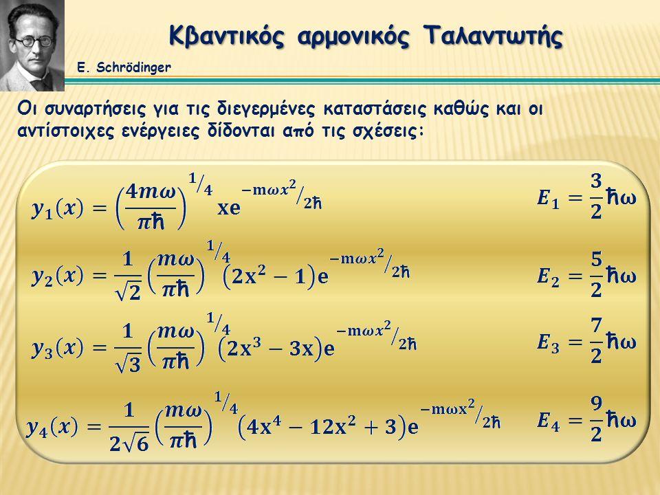 Κβαντικός αρμονικός Ταλαντωτής Οι συναρτήσεις για τις διεγερμένες καταστάσεις καθώς και οι αντίστοιχες ενέργειες δίδονται από τις σχέσεις: E. Schrödin