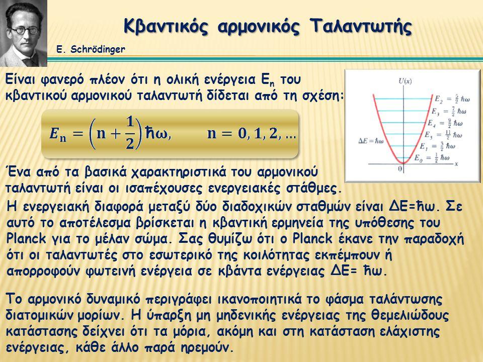 Κβαντικός αρμονικός Ταλαντωτής Είναι φανερό πλέον ότι η ολική ενέργεια Ε n του κβαντικού αρμονικού ταλαντωτή δίδεται από τη σχέση: Η ενεργειακή διαφορ