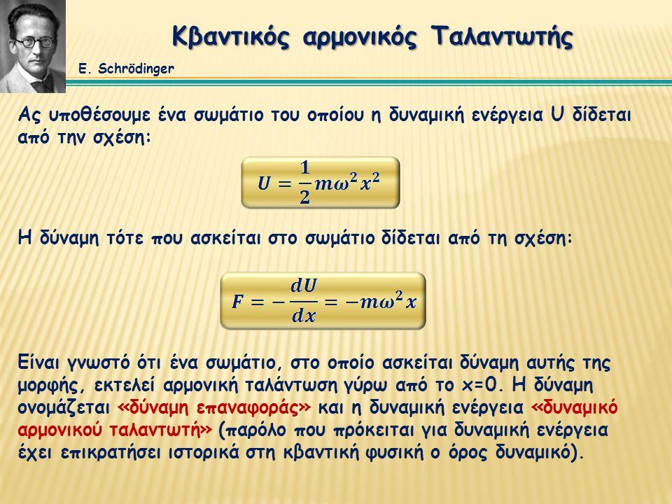 Ας υποθέσουμε ένα σωμάτιο του οποίου η δυναμική ενέργεια U δίδεται από την σχέση: Κβαντικός αρμονικός Ταλαντωτής Η δύναμη τότε που ασκείται στο σωμάτι