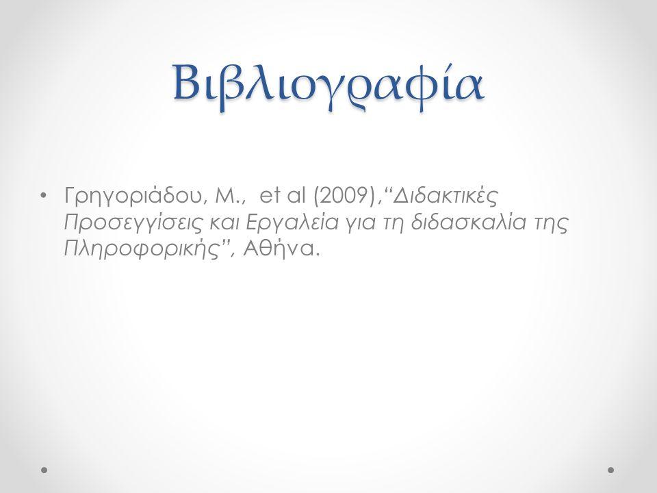 """Βιβλιογραφία Γρηγοριάδου, Μ., et al (2009),""""Διδακτικές Προσεγγίσεις και Εργαλεία για τη διδασκαλία της Πληροφορικής"""", Αθήνα."""