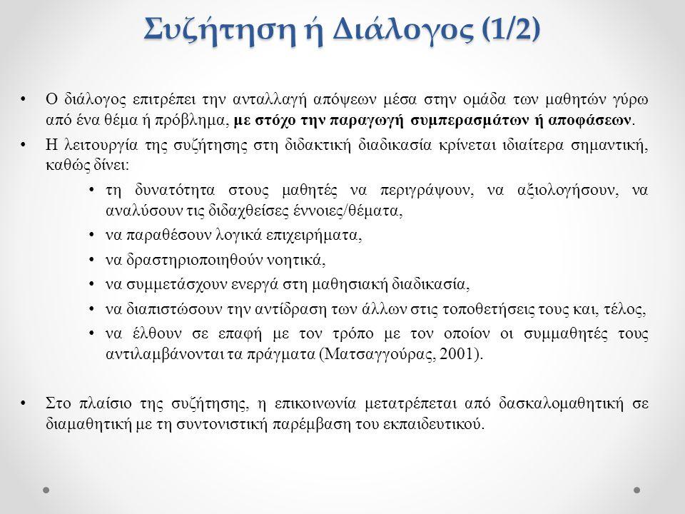 Συζήτηση ή Διάλογος (2/2) Βασικές δραστηριότητες του εκπαιδευτικού στο πλαίσιο της διαμαθητικής επικοινωνίας είναι: ο συντονισμός της συζήτησης, η εξάσκηση των μαθητών, η αξιοποίηση των μαθητικών ιδεών και η ανακεφαλαίωση των συμπερασμάτων (Ματσαγγούρας, 2001).