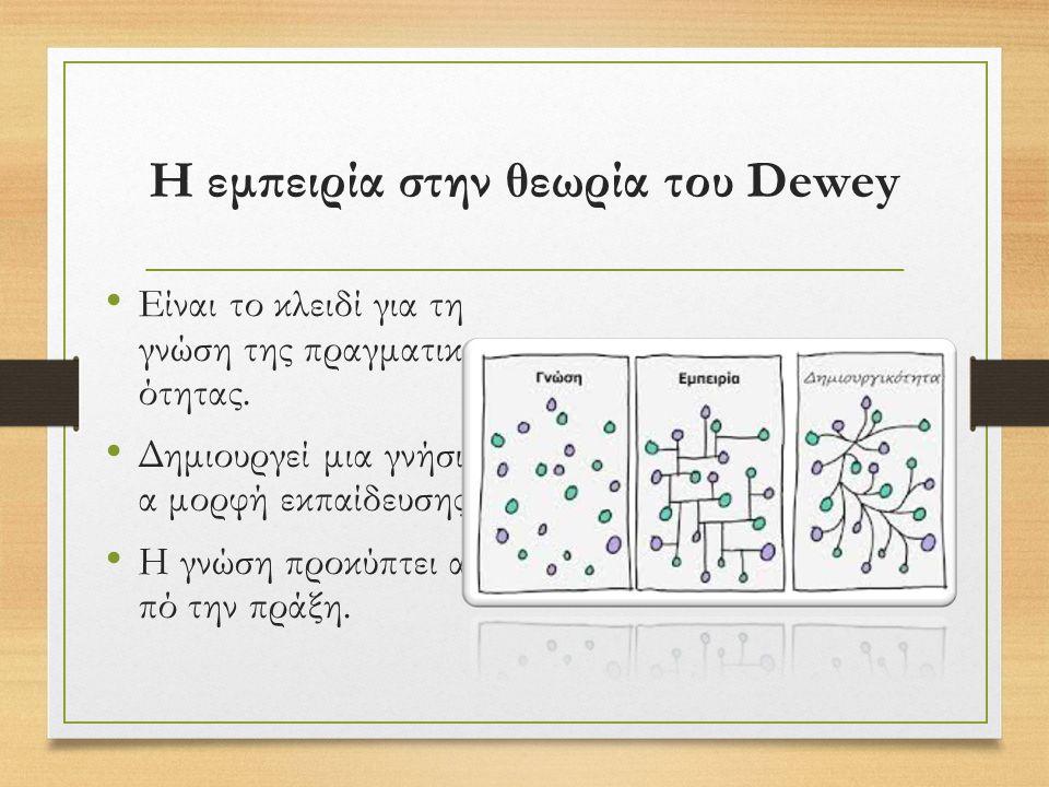 Η εμπειρία στην θεωρία του Dewey Είναι το κλειδί για τη γνώση της πραγματικ ότητας.