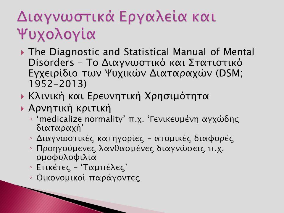  The Diagnostic and Statistical Manual of Mental Disorders - Το Διαγνωστικό και Στατιστικό Εγχειρίδιο των Ψυχικών Διαταραχών (DSM; 1952-2013)  Κλινική και Ερευνητική Χρησιμότητα  Αρνητική κριτική ◦ 'medicalize normality' π.χ.