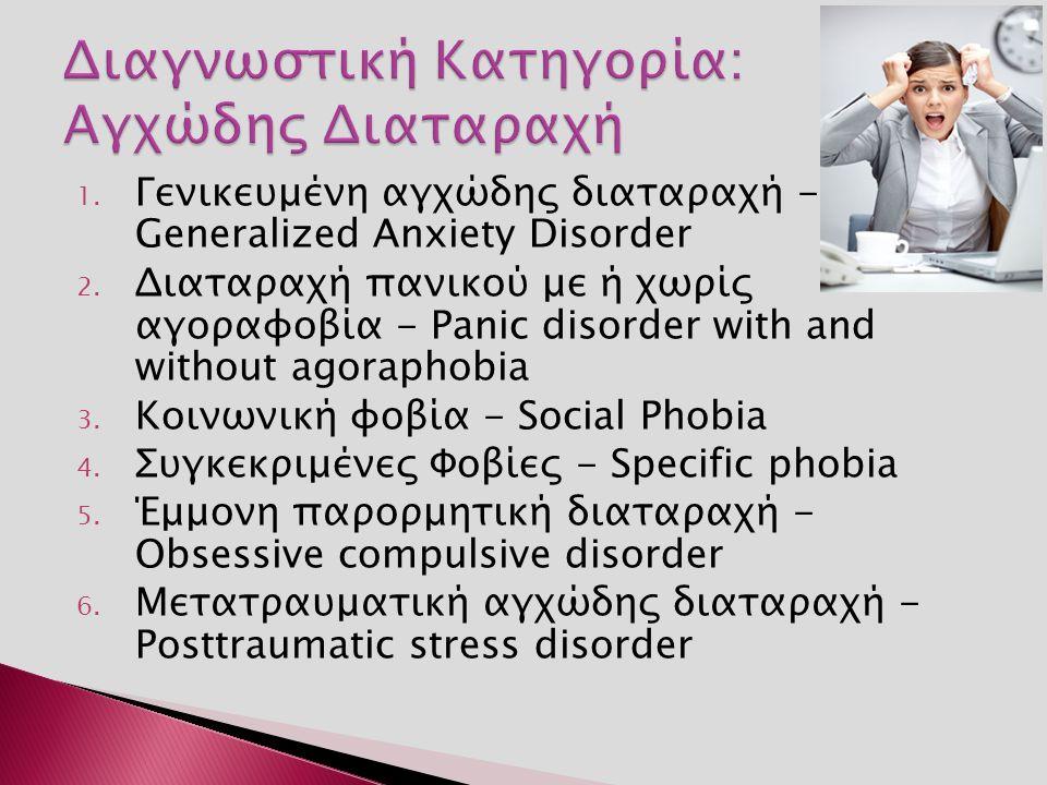 1. Γενικευμένη αγχώδης διαταραχή - Generalized Anxiety Disorder 2.
