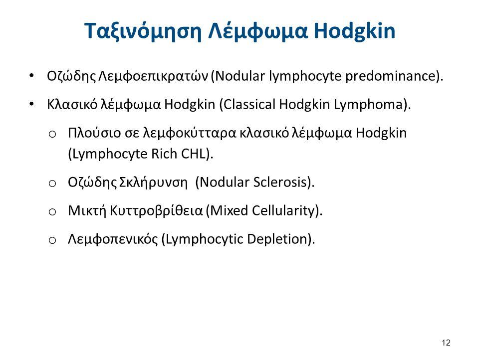 Ταξινόμηση Λέμφωμα Hodgkin Οζώδης Λεμφοεπικρατών (Nodular lymphocyte predominance).