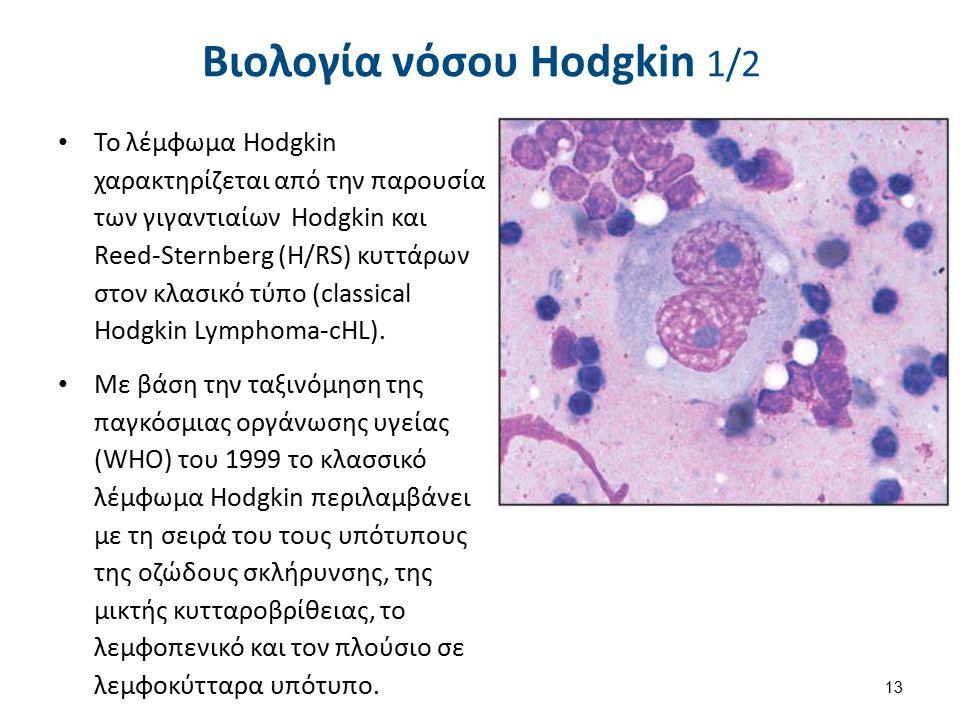Βιολογία νόσου Hodgkin 1/2 Το λέμφωμα Hodgkin χαρακτηρίζεται από την παρουσία των γιγαντιαίων Hodgkin και Reed-Sternberg (H/RS) κυττάρων στον κλασικό τύπο (classical Hodgkin Lymphoma-cHL).
