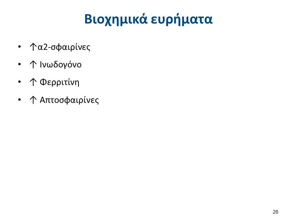 Βιοχημικά ευρήματα ↑α2-σφαιρίνες ↑ Ινωδογόνο ↑ Φερριτίνη ↑ Απτοσφαιρίνες 28