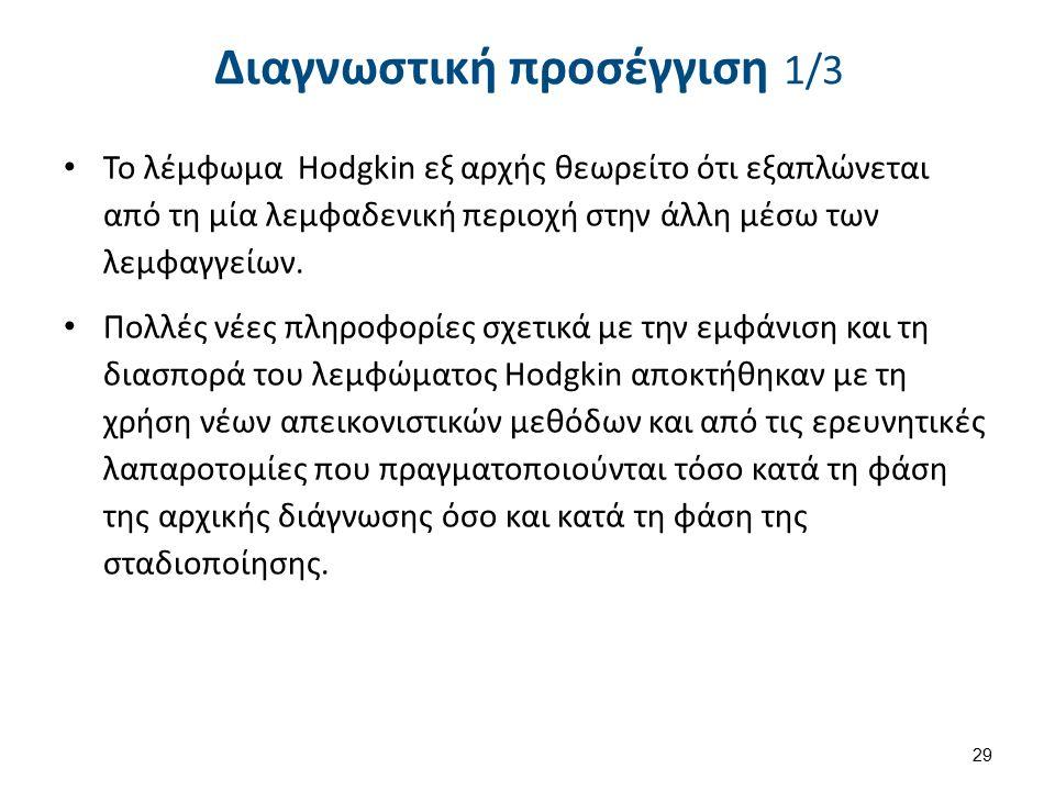 Διαγνωστική προσέγγιση 1/3 Το λέμφωμα Hodgkin εξ αρχής θεωρείτο ότι εξαπλώνεται από τη μία λεμφαδενική περιοχή στην άλλη μέσω των λεμφαγγείων.
