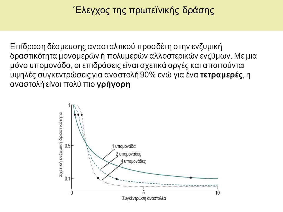 ΄Ελεγχος της πρωτεïνικής δράσης Επίδραση δέσμευσης ανασταλτικού προσδέτη στην ενζυμική δραστικότητα μονομερών ή πολυμερών αλλοστερικών ενζύμων.