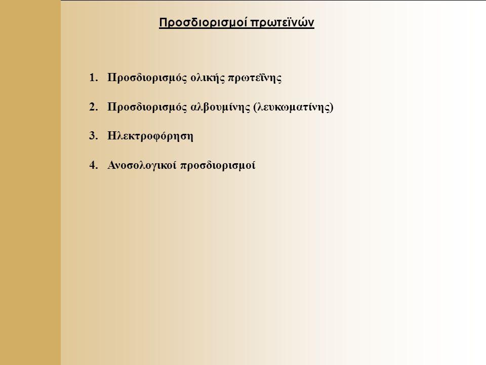 6 Προσδιορισμοί πρωτεϊνών 1.Προσδιορισμός ολικής πρωτεΐνης 2.Προσδιορισμός αλβουμίνης (λευκωματίνης) 3.Ηλεκτροφόρηση 4.Ανοσολογικοί προσδιορισμοί
