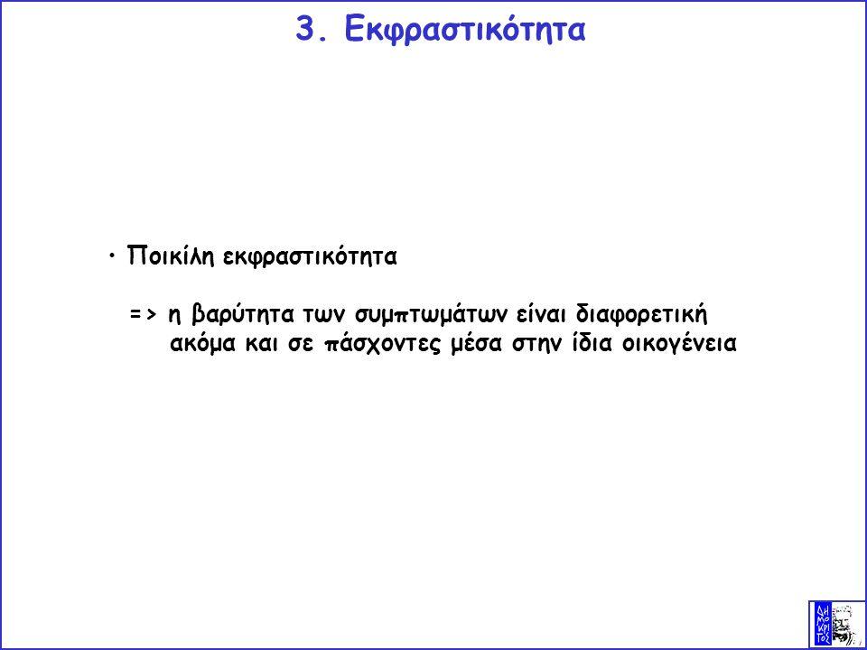Ποικίλη εκφραστικότητα => η βαρύτητα των συμπτωμάτων είναι διαφορετική ακόμα και σε πάσχοντες μέσα στην ίδια οικογένεια 3.