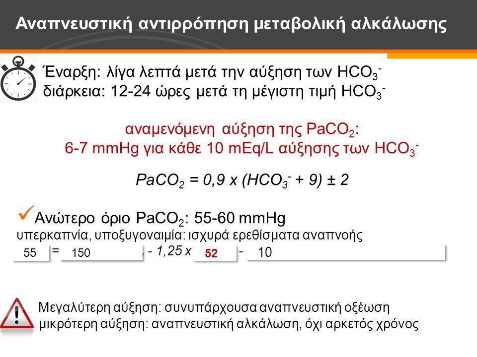 Έναρξη: λίγα λεπτά μετά την αύξηση των HCO 3 - διάρκεια: 12-24 ώρες μετά τη μέγιστη τιμή HCO 3 - αναμενόμενη αύξηση της PaCO 2 : 6-7 mmHg για κάθε 10 mEq/L αύξησης των HCO 3 - PaCO 2 = 0,9 x (HCO 3 - + 9) ± 2 Ανώτερο όριο PaCO 2 : 55-60 mmHg υπερκαπνία, υποξυγοναιμία: ισχυρά ερεθίσματα αναπνοής PaO 2 = PO 2 εισπνεόμενου - 1,25 x PaCO 2 - κλίση O 2 (κυψελίδων/αρτηριδίων) Μεγαλύτερη αύξηση: συνυπάρχουσα αναπνευστική οξέωση μικρότερη αύξηση: αναπνευστική αλκάλωση, όχι αρκετός χρόνος Αναπνευστική αντιρρόπηση μεταβολική αλκάλωσης 10 150 55 52