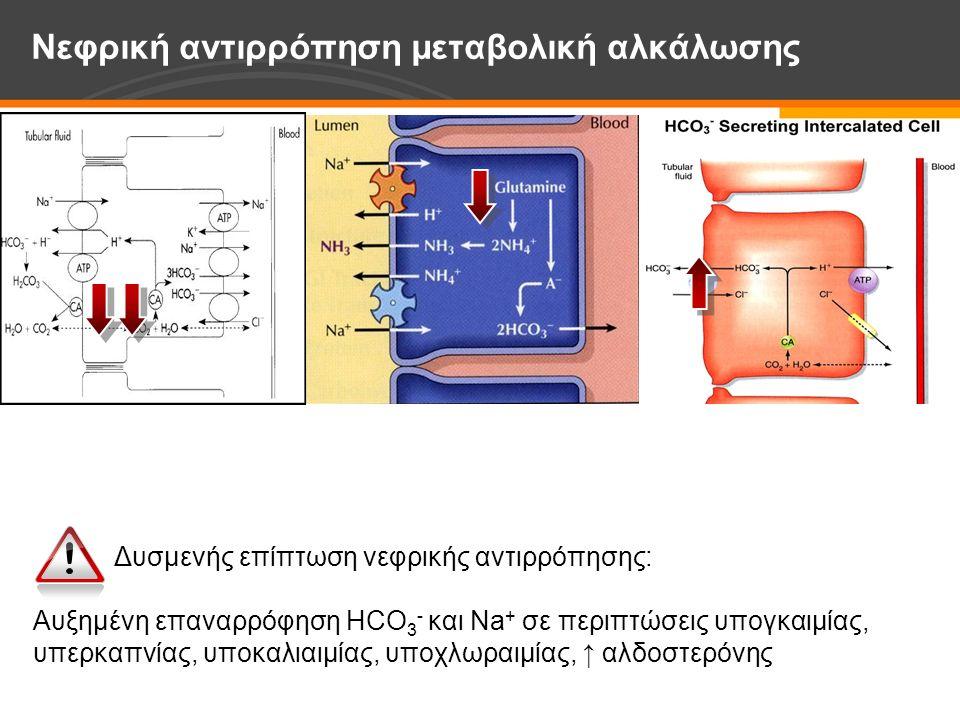 Δυσμενής επίπτωση νεφρικής αντιρρόπησης: Αυξημένη επαναρρόφηση HCO 3 - και Νa + σε περιπτώσεις υπογκαιμίας, υπερκαπνίας, υποκαλιαιμίας, υποχλωραιμίας, ↑ αλδοστερόνης Νεφρική αντιρρόπηση μεταβολική αλκάλωσης