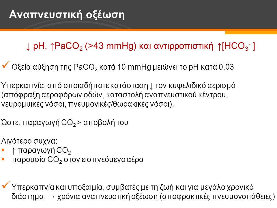 ↓ pH, ↑PaCO 2 (>43 mmHg) και αντιρροπιστική ↑[HCO 3 - ] Οξεία αύξηση της PaCO 2 κατά 10 mmHg μειώνει το pH κατά 0,03 Υπερκαπνία: από οποιαδήποτε κατάσταση ↓ τον κυψελιδικό αερισμό (απόφραξη αεροφόρων οδών, καταστολή αναπνευστικού κέντρου, νευρομυικές νόσοι, πνευμονικές/θωρακικές νόσοι), Ώστε: παραγωγή CO 2 > αποβολή του Λιγότερο συχνά:  ↑ παραγωγή CO 2  παρουσία CO 2 στον εισπνεόμενο αέρα Υπερκαπνία και υποξαιμία, συμβατές με τη ζωή και για μεγάλο χρονικό διάστημα, → χρόνια αναπνευστική οξέωση (αποφρακτικές πνευμονοπάθειες) Αναπνευστική οξέωση