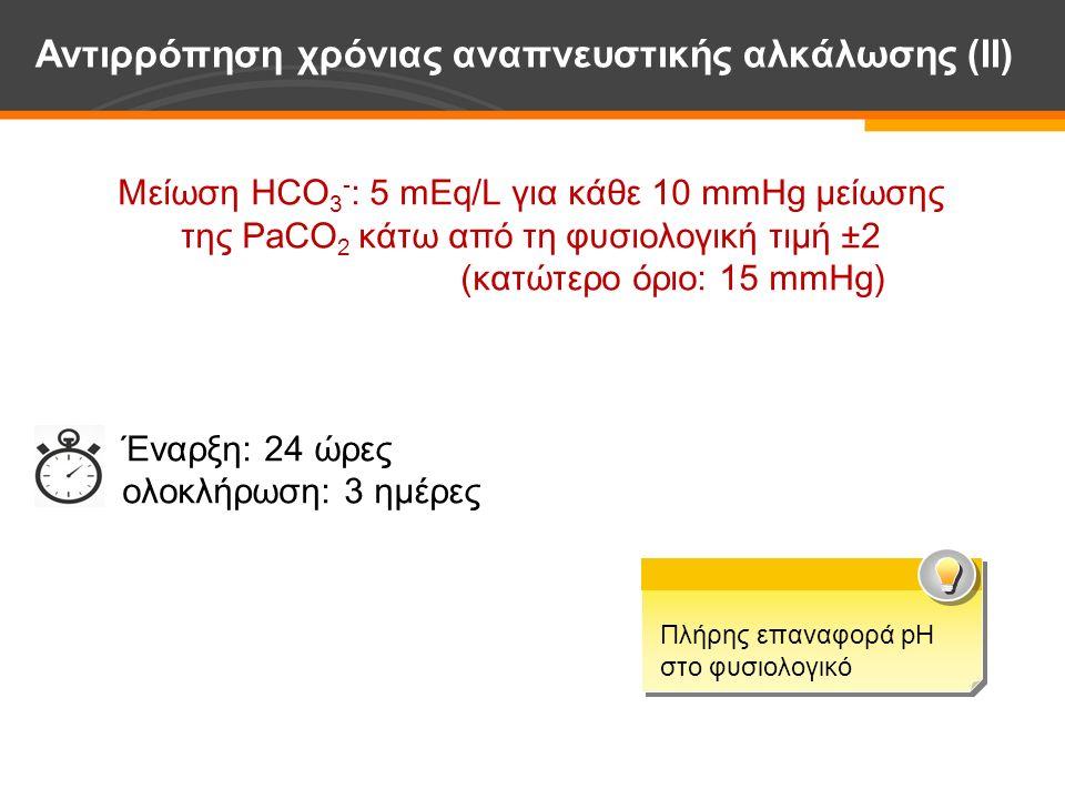 Μείωση HCO 3 - : 5 mEq/L για κάθε 10 mmHg μείωσης της PaCO 2 κάτω από τη φυσιολογική τιμή ±2 (κατώτερο όριο: 15 mmHg) Έναρξη: 24 ώρες ολοκλήρωση: 3 ημέρες Αντιρρόπηση χρόνιας αναπνευστικής αλκάλωσης (ΙΙ) Πλήρης επαναφορά pH στο φυσιολογικό Πλήρης επαναφορά pH στο φυσιολογικό