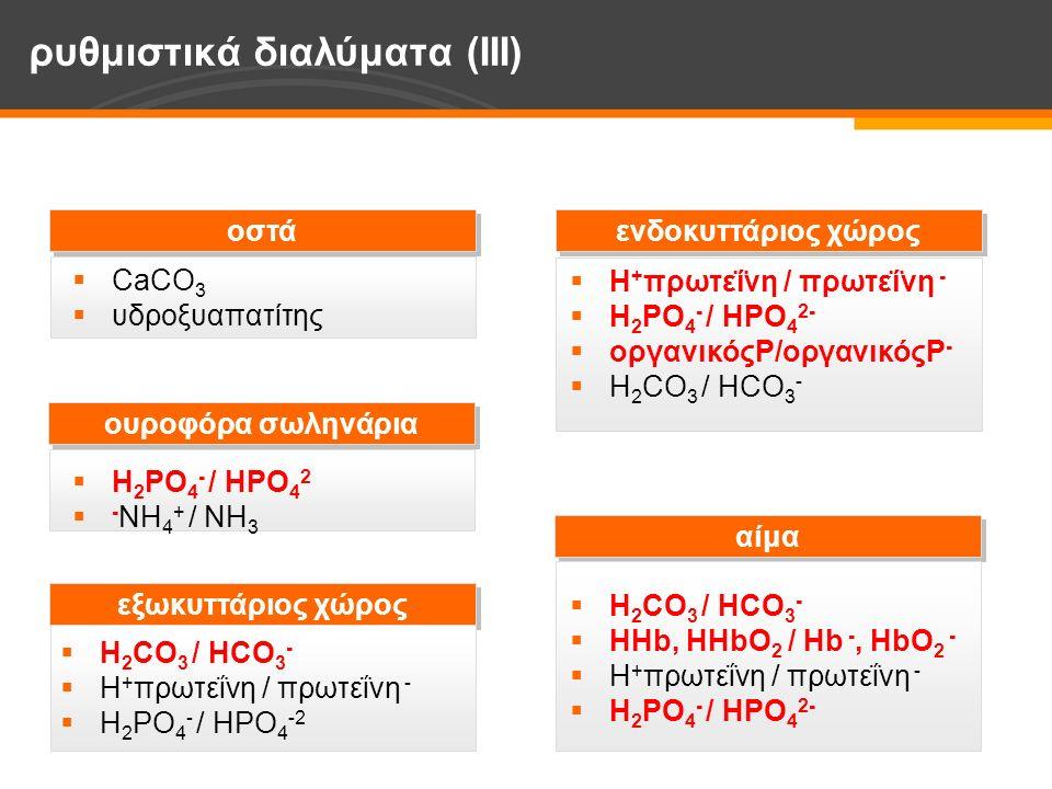  CaCO 3  υδροξυαπατίτης οστά ενδοκυττάριος χώρος ρυθμιστικά διαλύματα (IΙΙ) ουροφόρα σωληνάρια αίμα εξωκυττάριος χώρος  H 2 PO 4 - / HPO 4 2  - NH 4 + / NH 3  H 2 CO 3 / HCO 3 -  H + πρωτεΐνη / πρωτεΐνη -  H 2 PO 4 - / HPO 4 -2  H + πρωτεΐνη / πρωτεΐνη -  H 2 PO 4 - / HPO 4 2-  οργανικόςΡ/οργανικόςΡ -  H 2 CO 3 / HCO 3 -  ΗΗb, ΗHbO 2 / Ηb -, HbO 2 -  H + πρωτεΐνη / πρωτεΐνη -  H 2 PO 4 - / HPO 4 2-