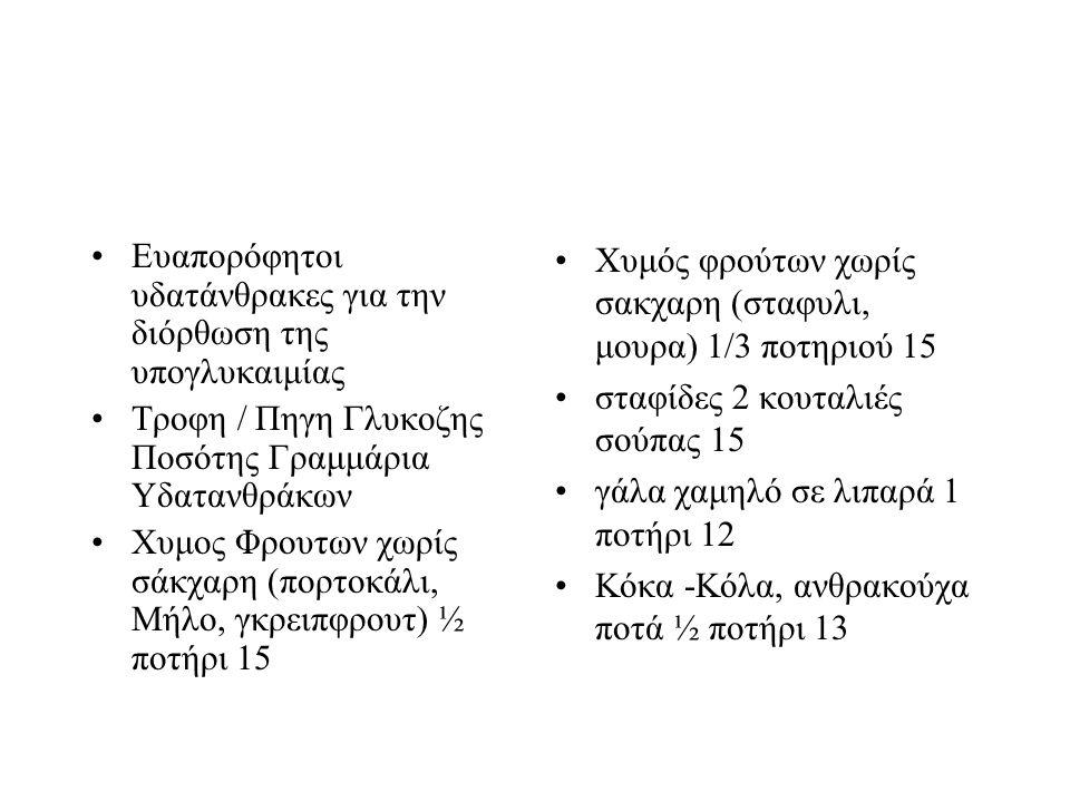 Ευαπορόφητοι υδατάνθρακες για την διόρθωση της υπογλυκαιμίας Τροφη / Πηγη Γλυκοζης Ποσότης Γραμμάρια Υδατανθράκων Χυμος Φρουτων χωρίς σάκχαρη (πορτοκάλι, Μήλο, γκρειπφρουτ) ½ ποτήρι 15 Χυμός φρούτων χωρίς σακχαρη (σταφυλι, μουρα) 1/3 ποτηριού 15 σταφίδες 2 κουταλιές σούπας 15 γάλα χαμηλό σε λιπαρά 1 ποτήρι 12 Κόκα -Κόλα, ανθρακούχα ποτά ½ ποτήρι 13