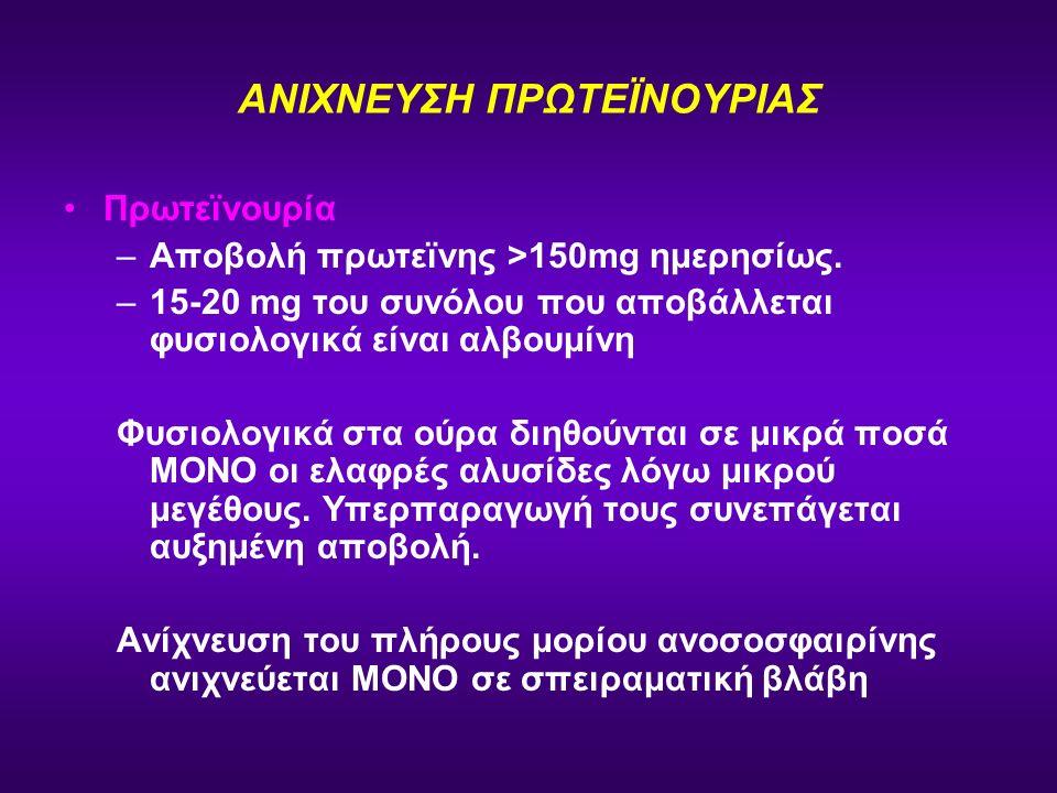 ΑΝΙΧΝΕΥΣΗ ΠΡΩΤΕΪΝΟΥΡΙΑΣ Πρωτεϊνουρία –Αποβολή πρωτεϊνης >150mg ημερησίως. –15-20 mg του συνόλου που αποβάλλεται φυσιολογικά είναι αλβουμίνη Φυσιολογικ
