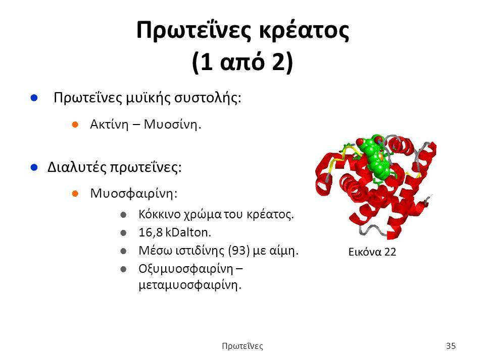 Πρωτεΐνες κρέατος (1 από 2) ●Πρωτεΐνες μυϊκής συστολής: ●Ακτίνη – Μυοσίνη.