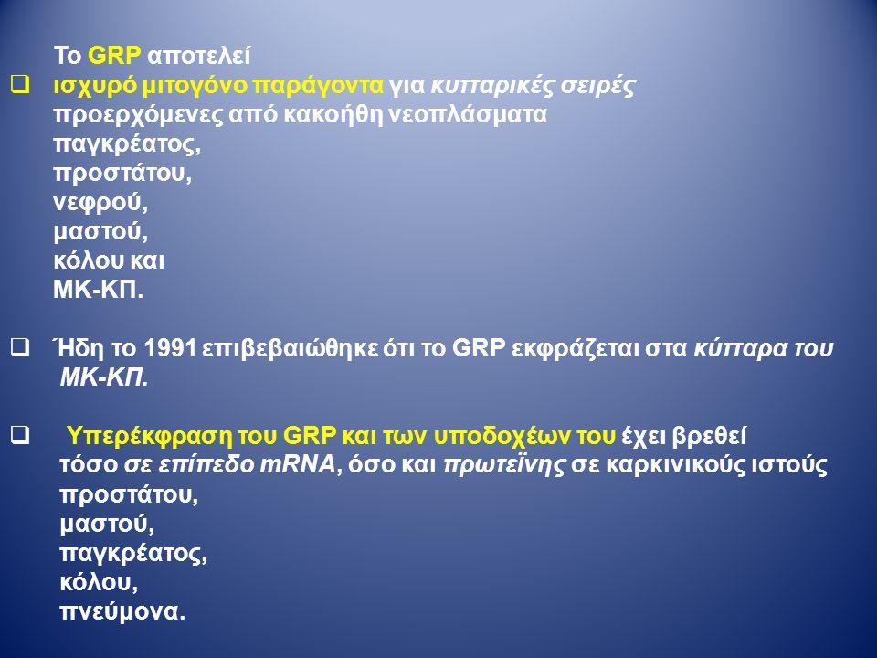 Το GRP αποτελεί  ισχυρό μιτογόνο παράγοντα για κυτταρικές σειρές προερχόμενες από κακοήθη νεοπλάσματα παγκρέατος, προστάτου, νεφρού, μαστού, κόλου και ΜΚ-ΚΠ.
